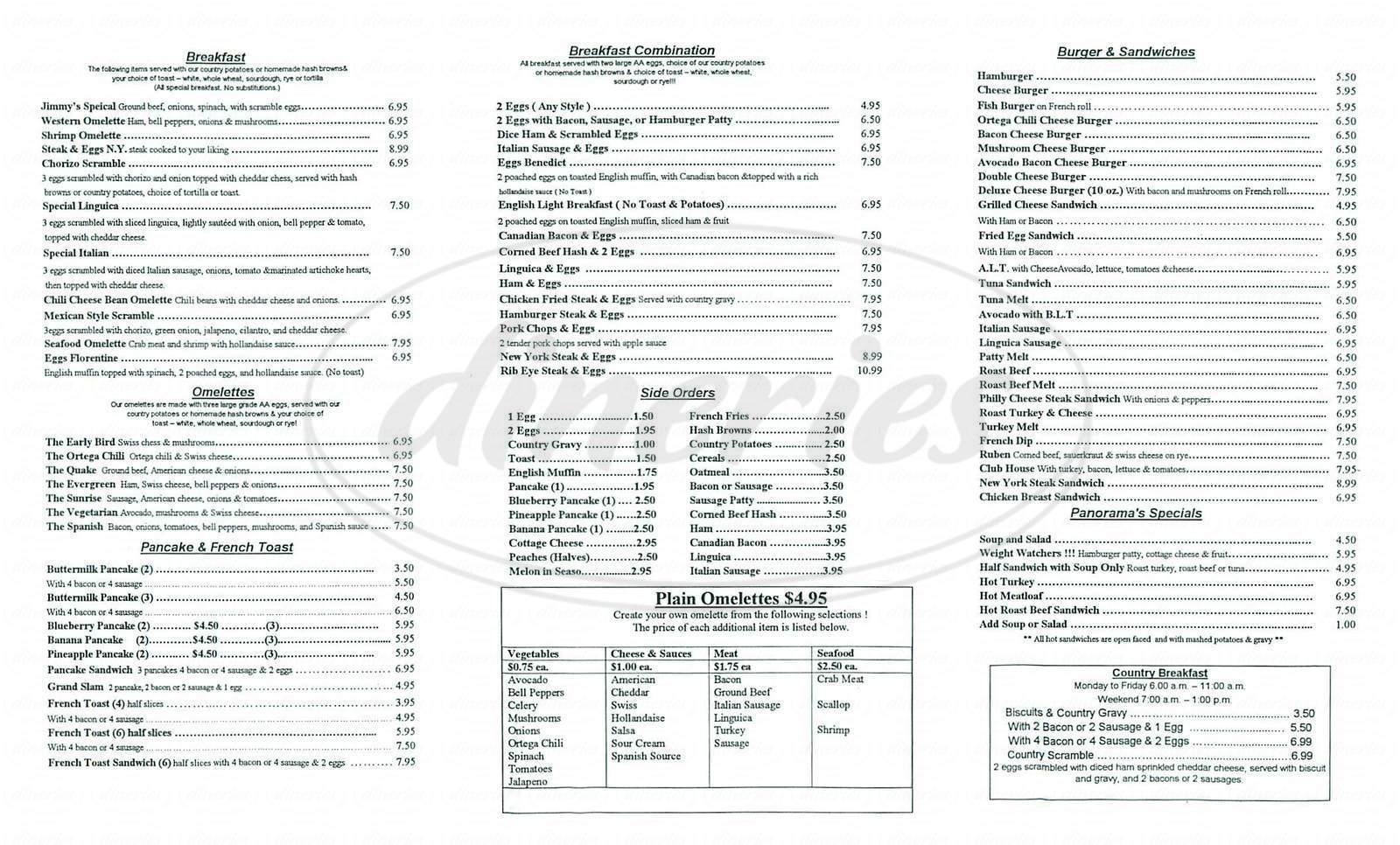 menu for Panorama