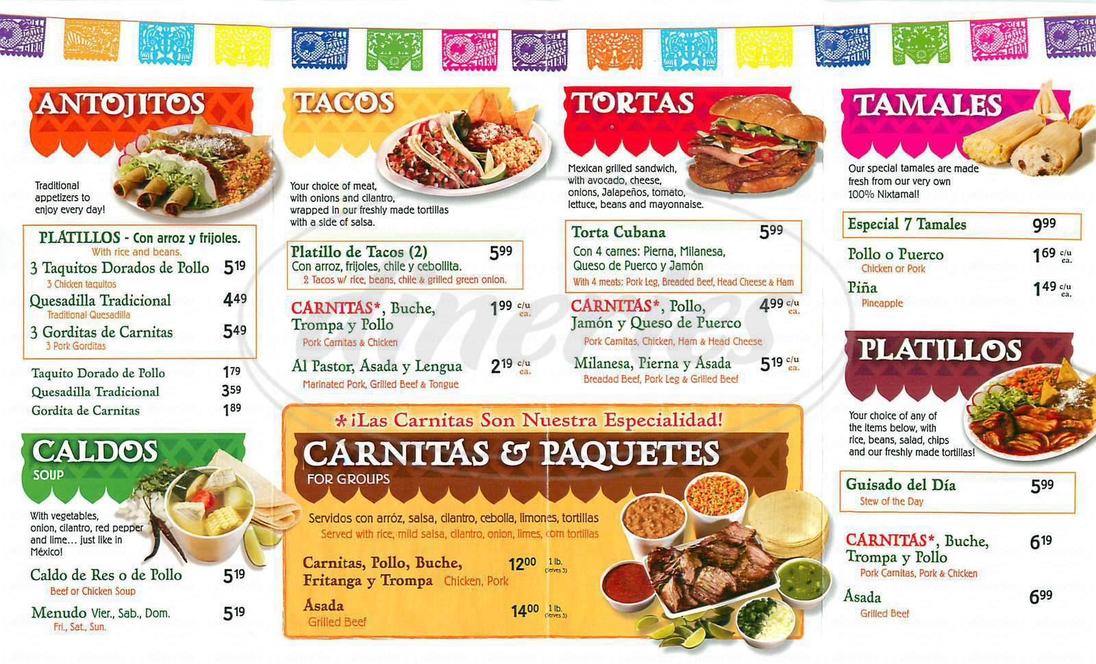 menu for El Gallo Giro