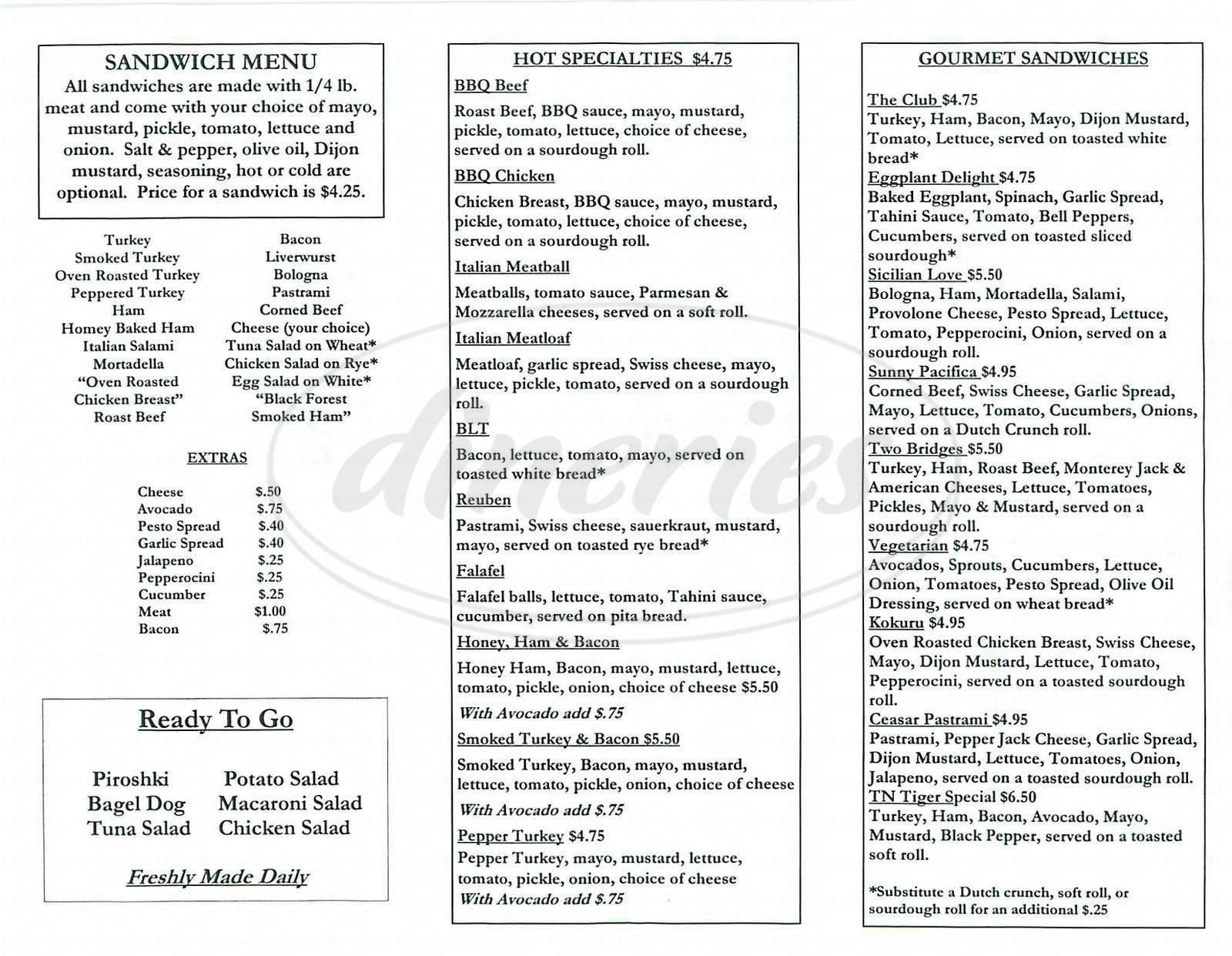menu for Upper Crust
