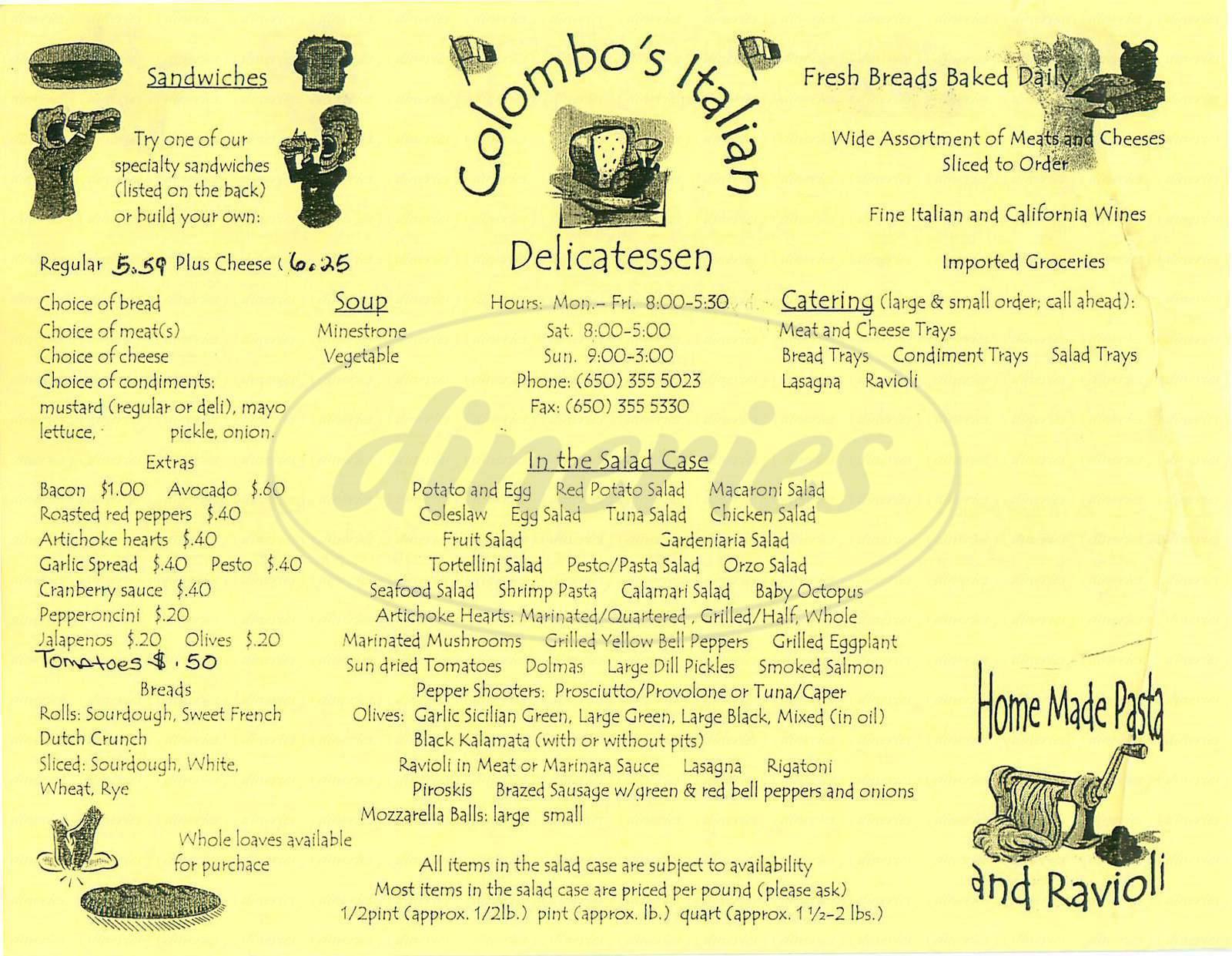menu for Colombo's Italian Deli