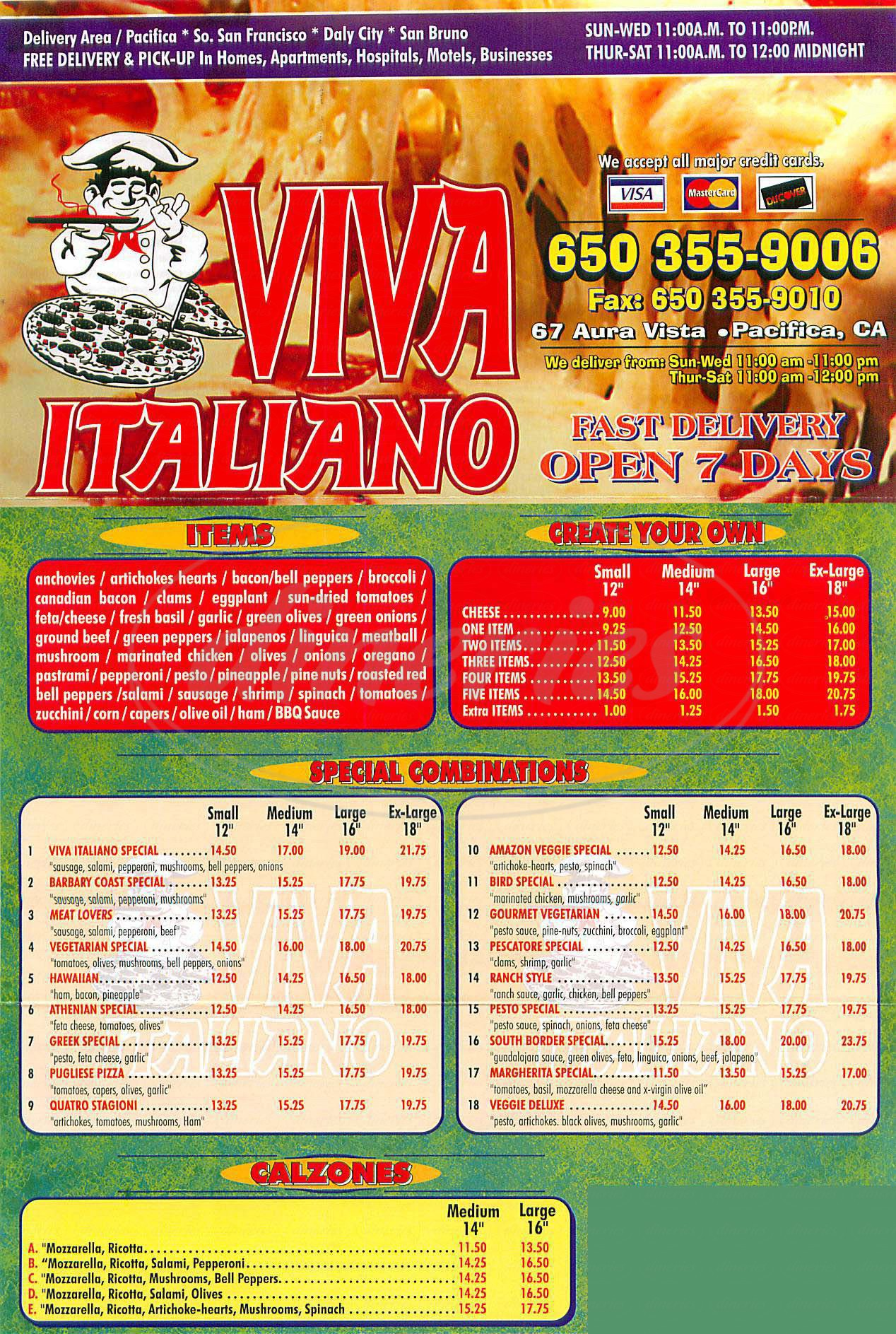 menu for Viva Italiano
