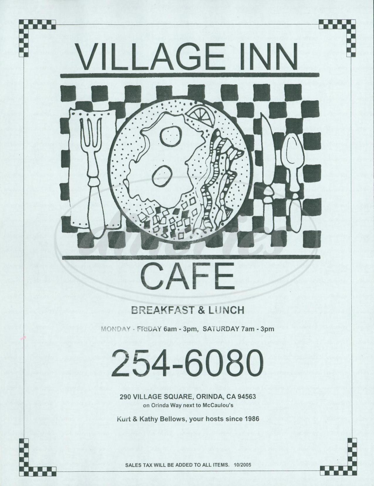 menu for Village Inn Cafe