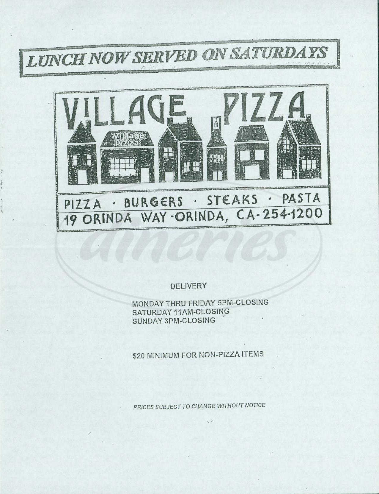 menu for Village Pizza
