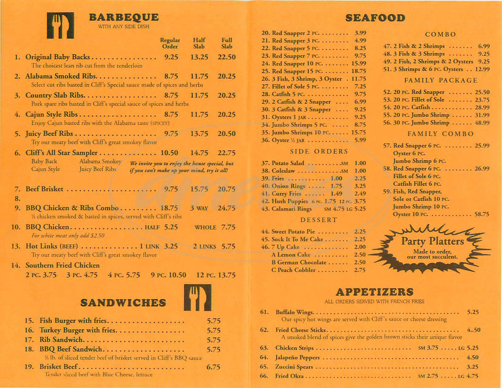 menu for Cliff's BBQ and Seafood