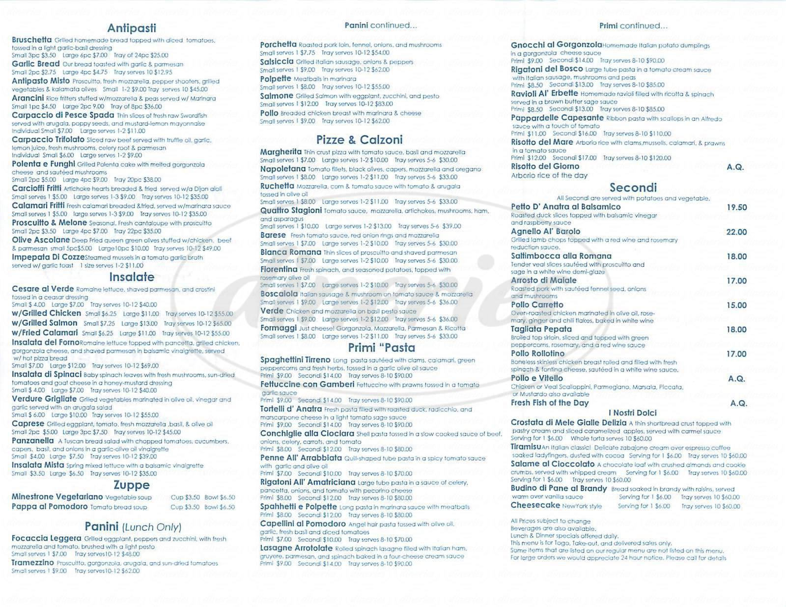 menu for Vino e Cucina Trattoria