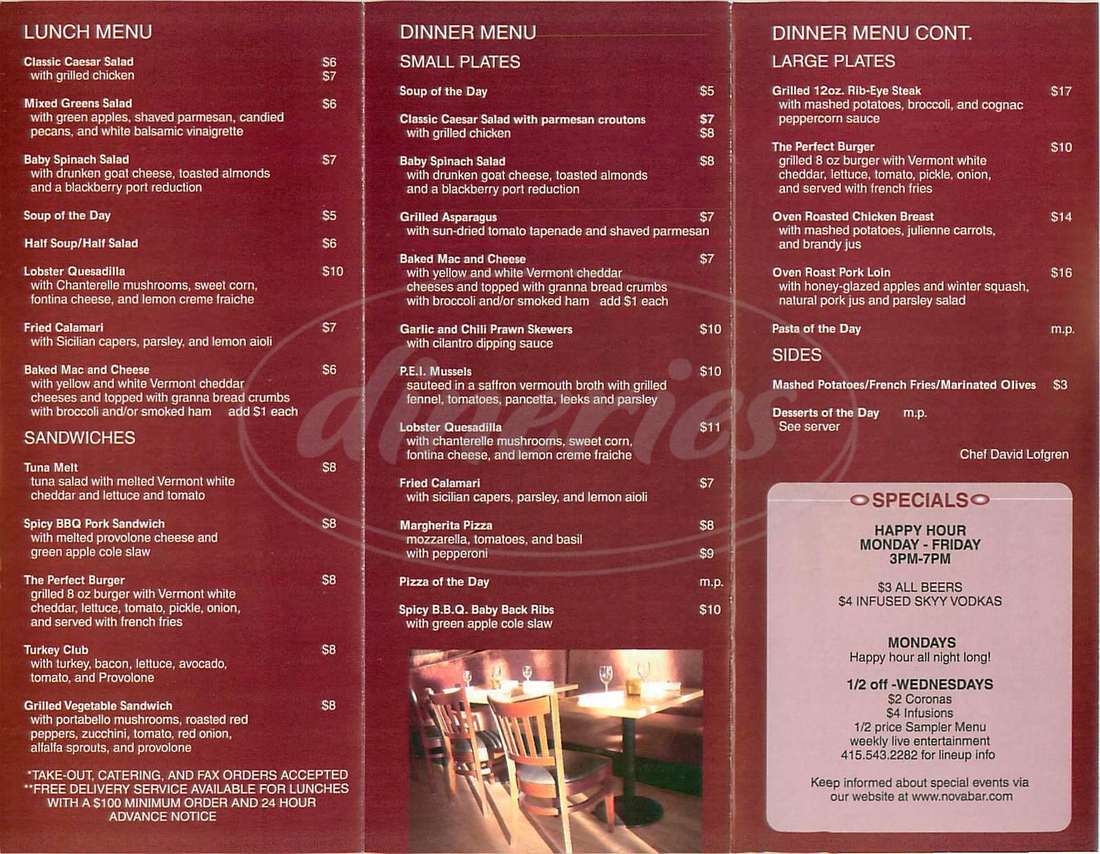 menu for Nova