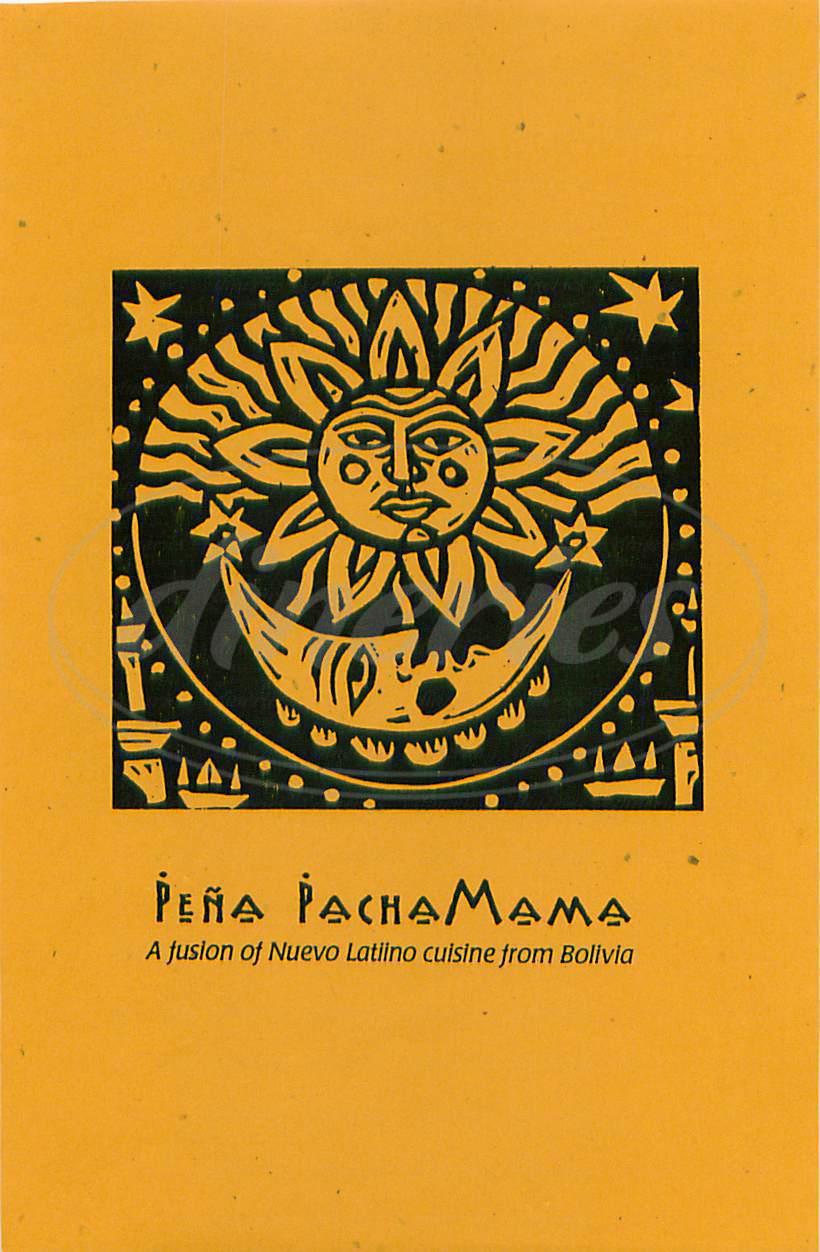 menu for Pena PachaMama