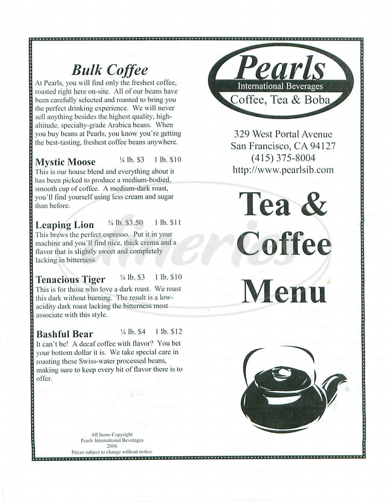 menu for Pearls International Beverages