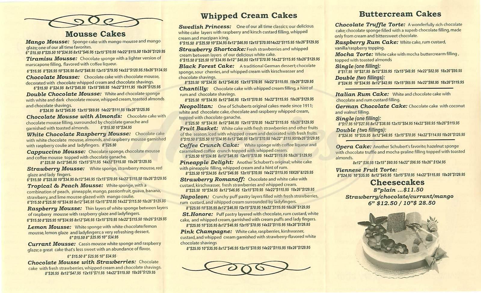 menu for Schubert's Bakery