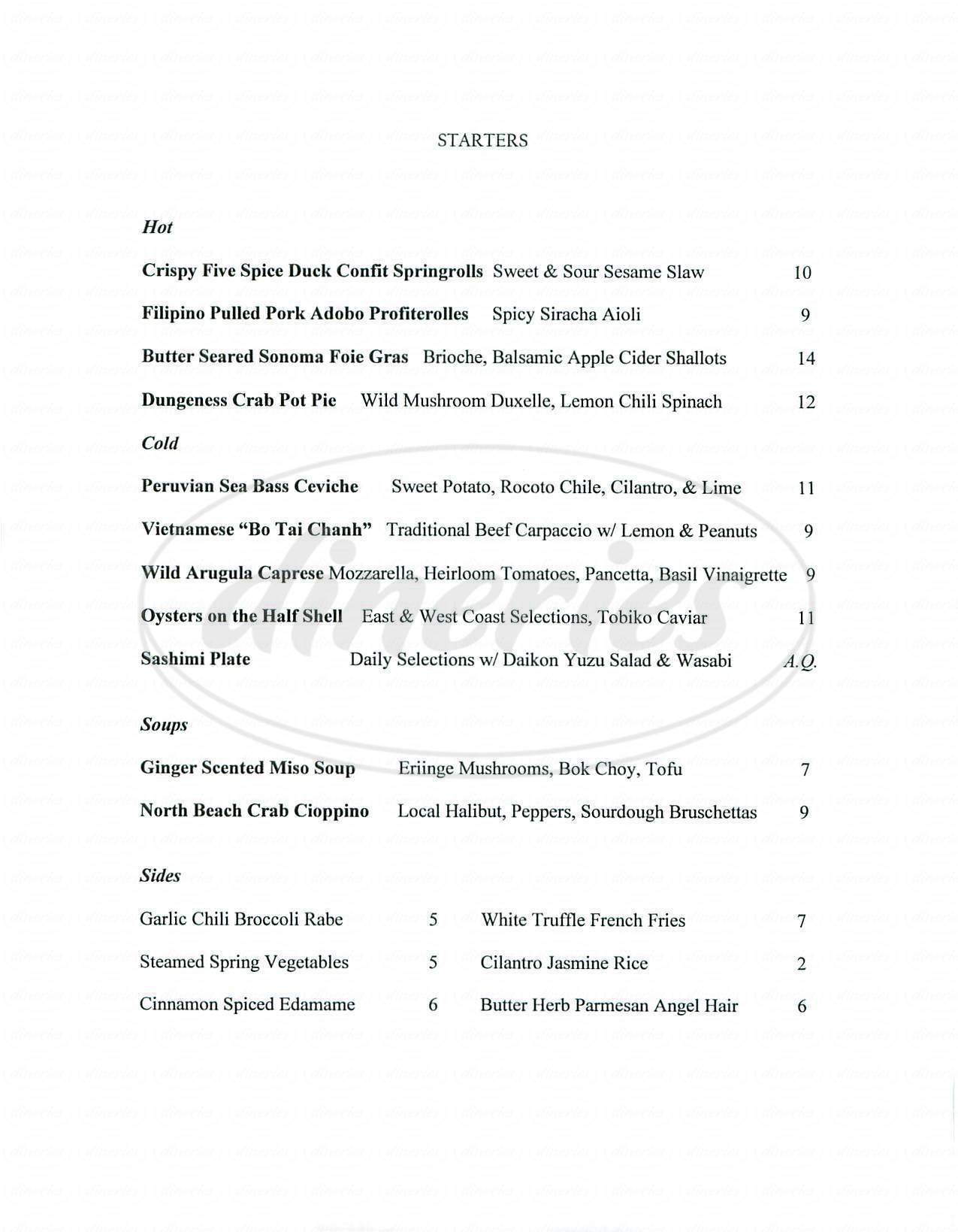 menu for Avenue G