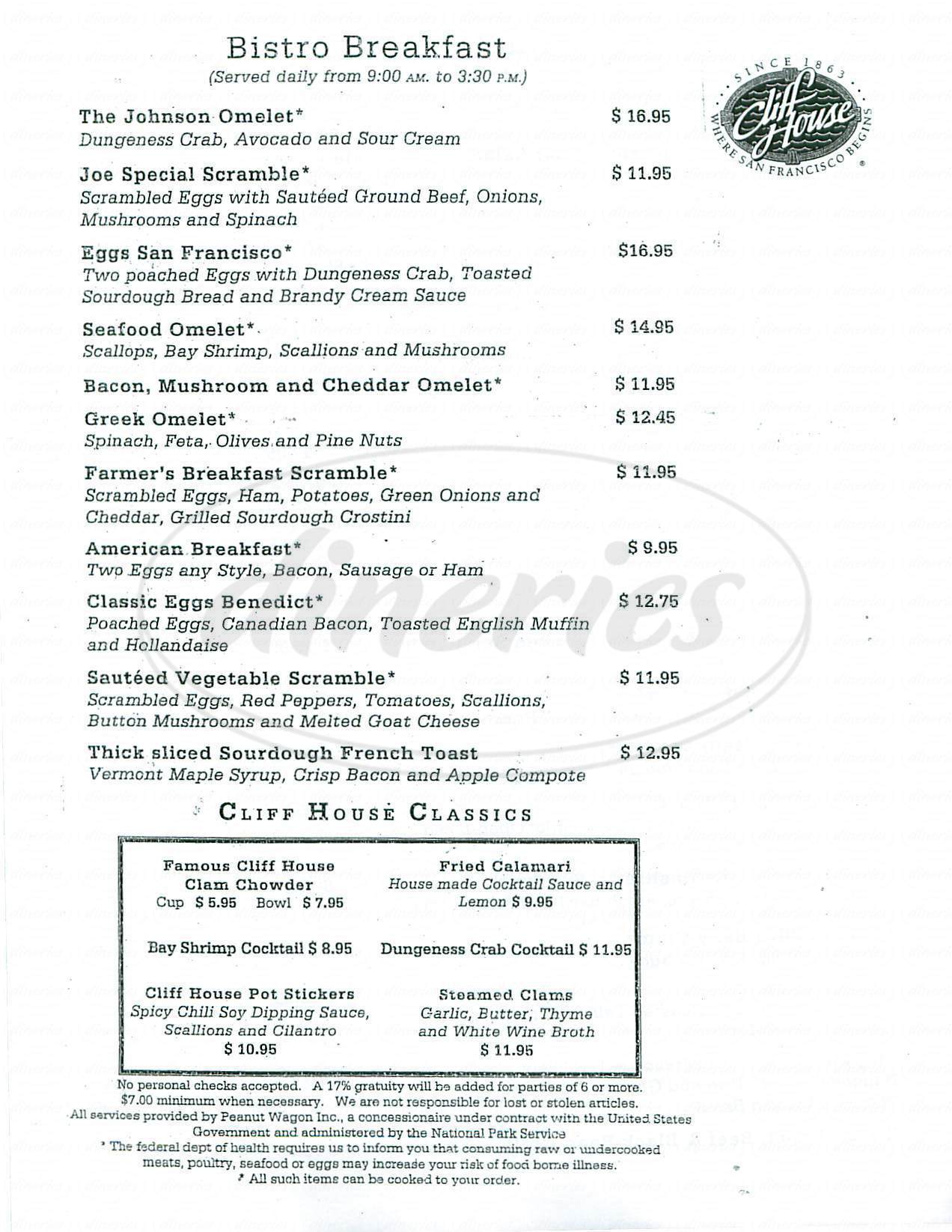 menu for Sutro's at the Cliff House