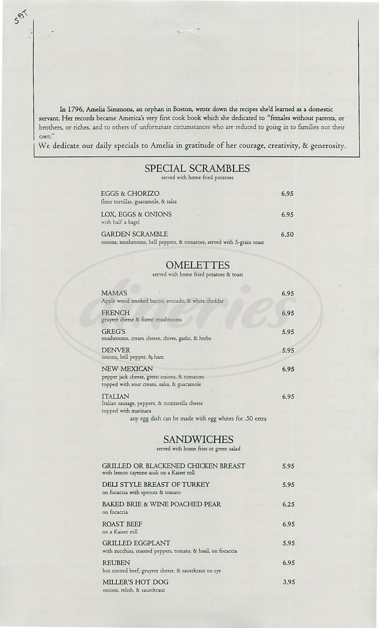 menu for Delancey Street Restaurant