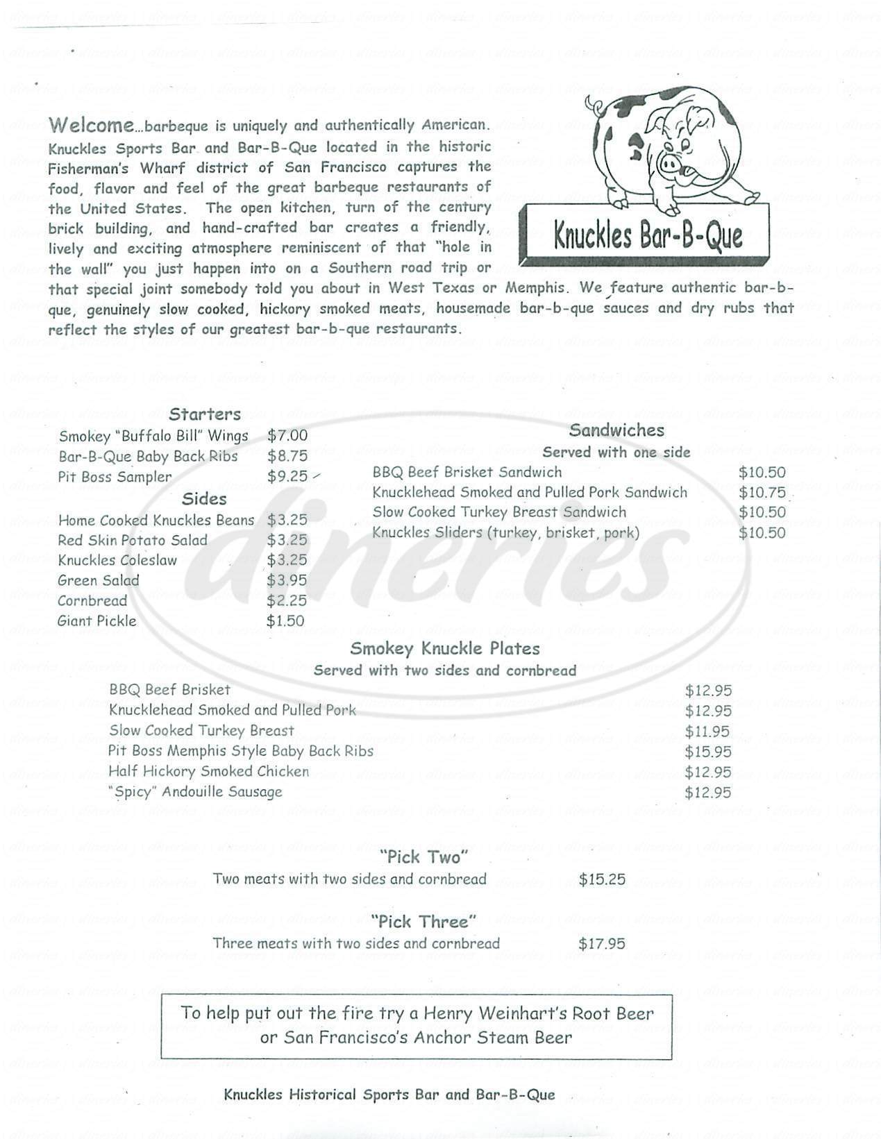 menu for Knuckles Sports Bar & BBQ