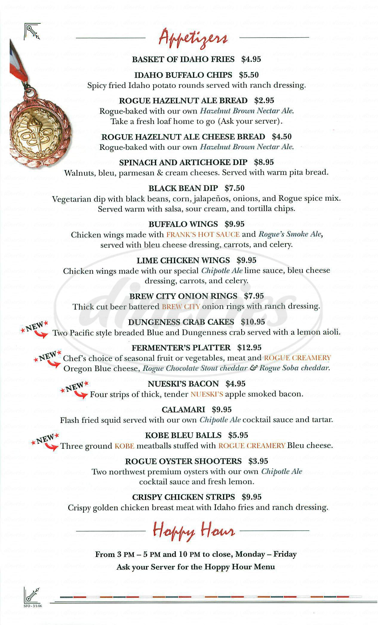 menu for Rogues Ales Public House