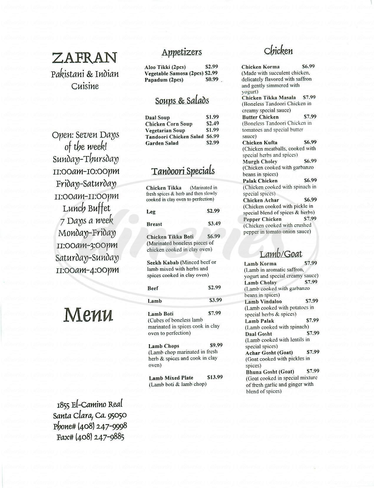 menu for Zafran