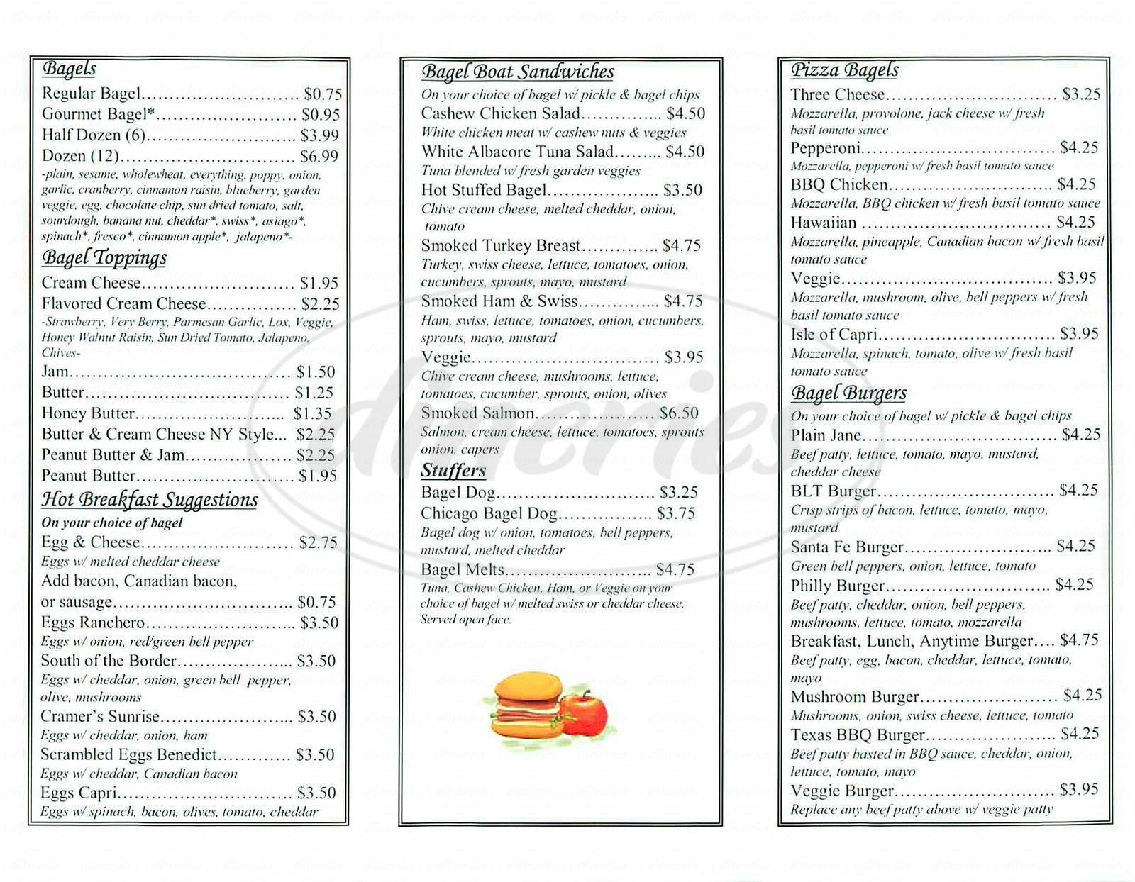 menu for Cramer's New York Style Bagels
