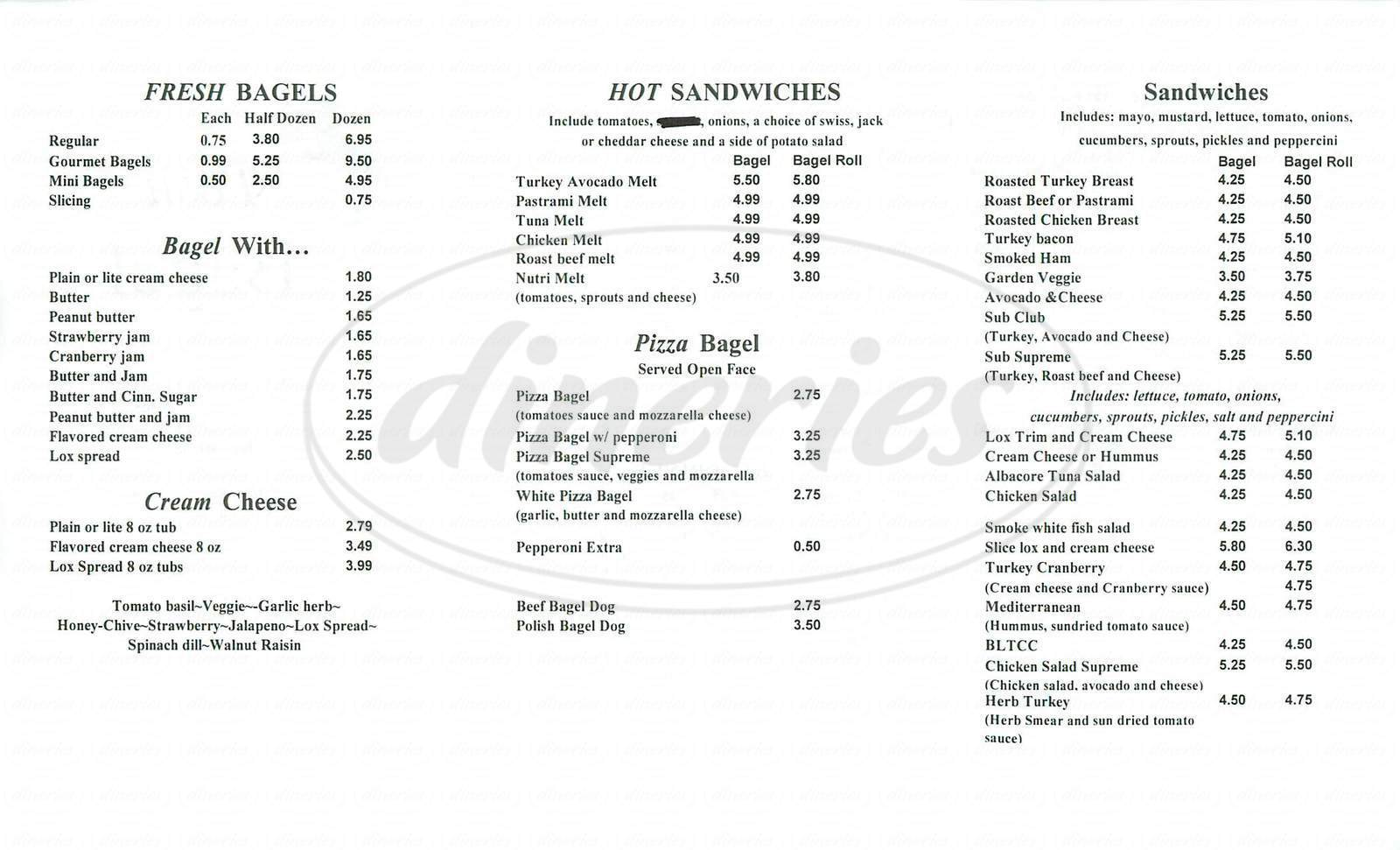 menu for Posh Bagel