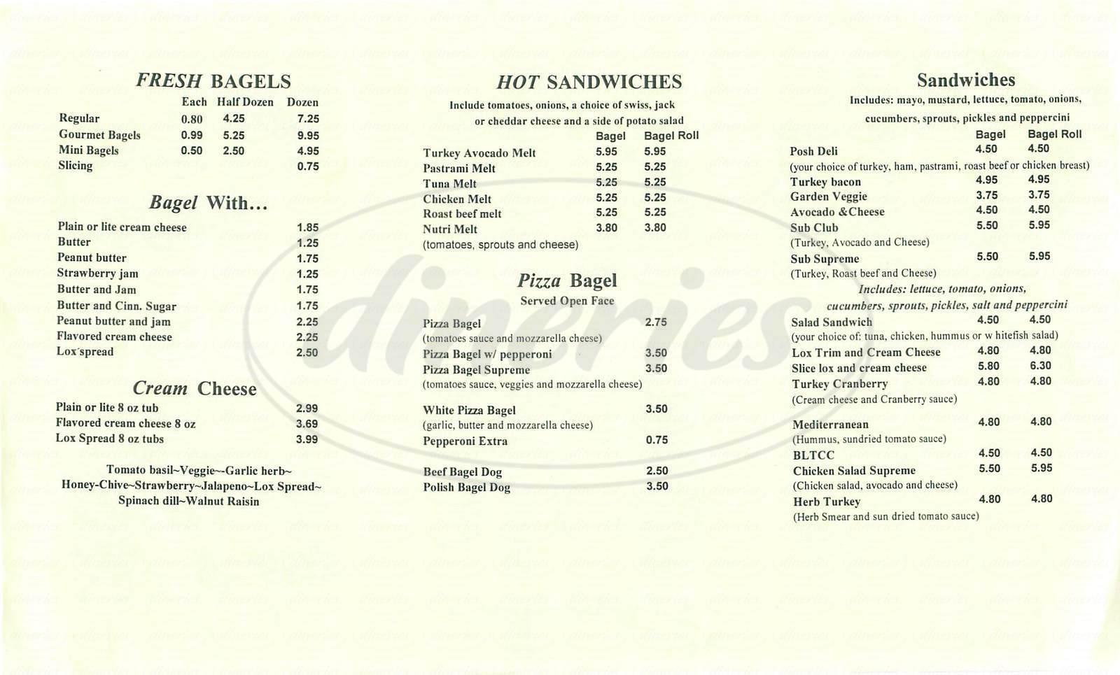 menu for Posh Bagel