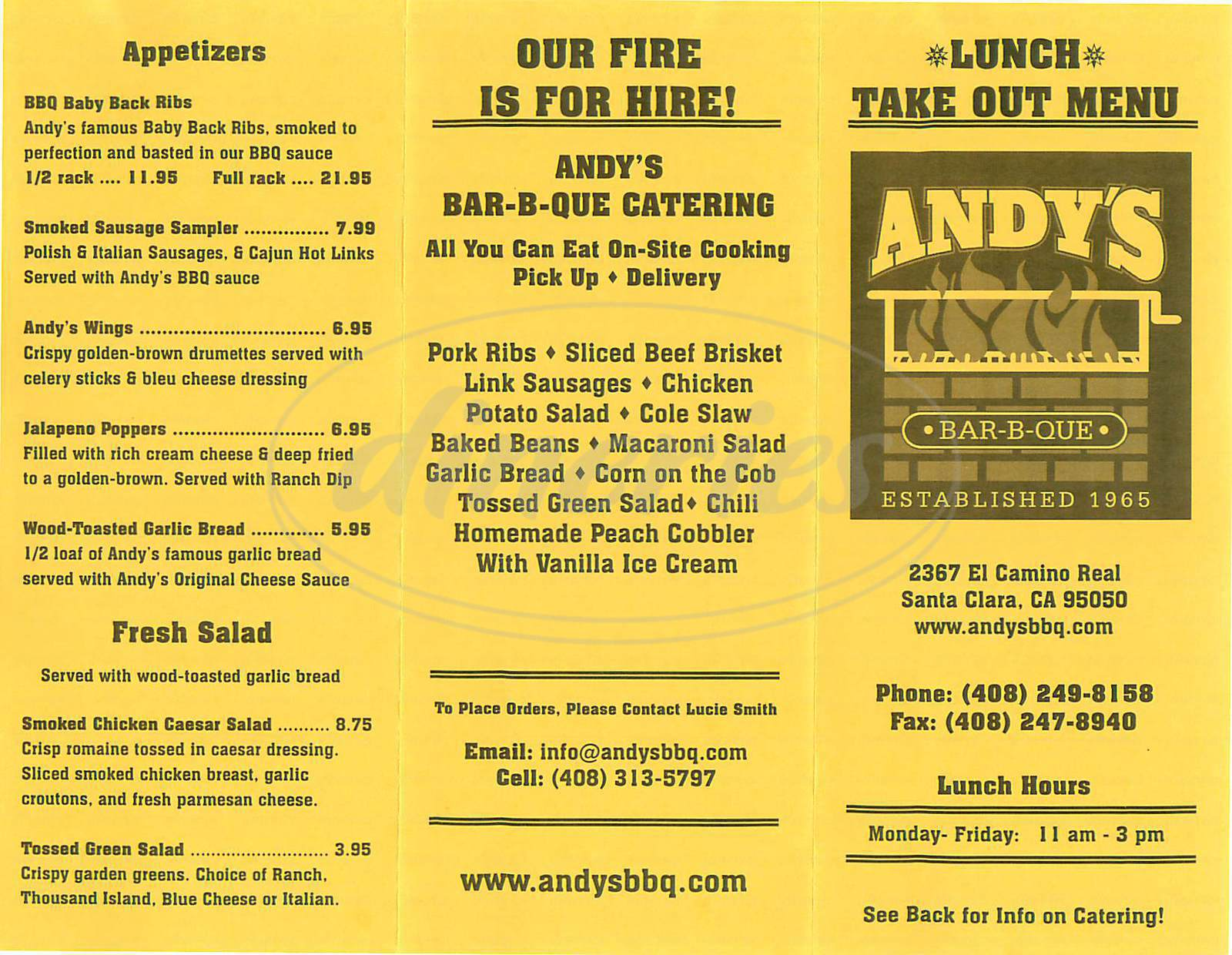 menu for Andy's Bar-B-Que