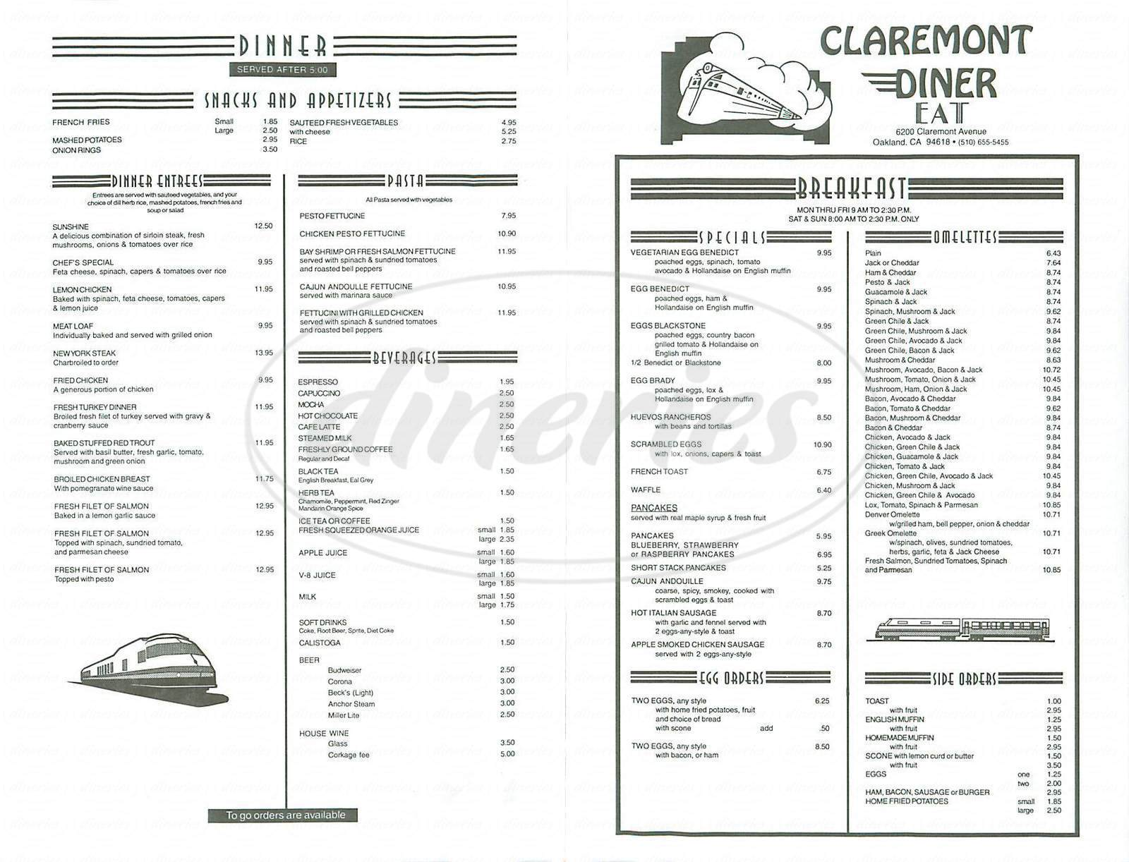 menu for Claremont Diner