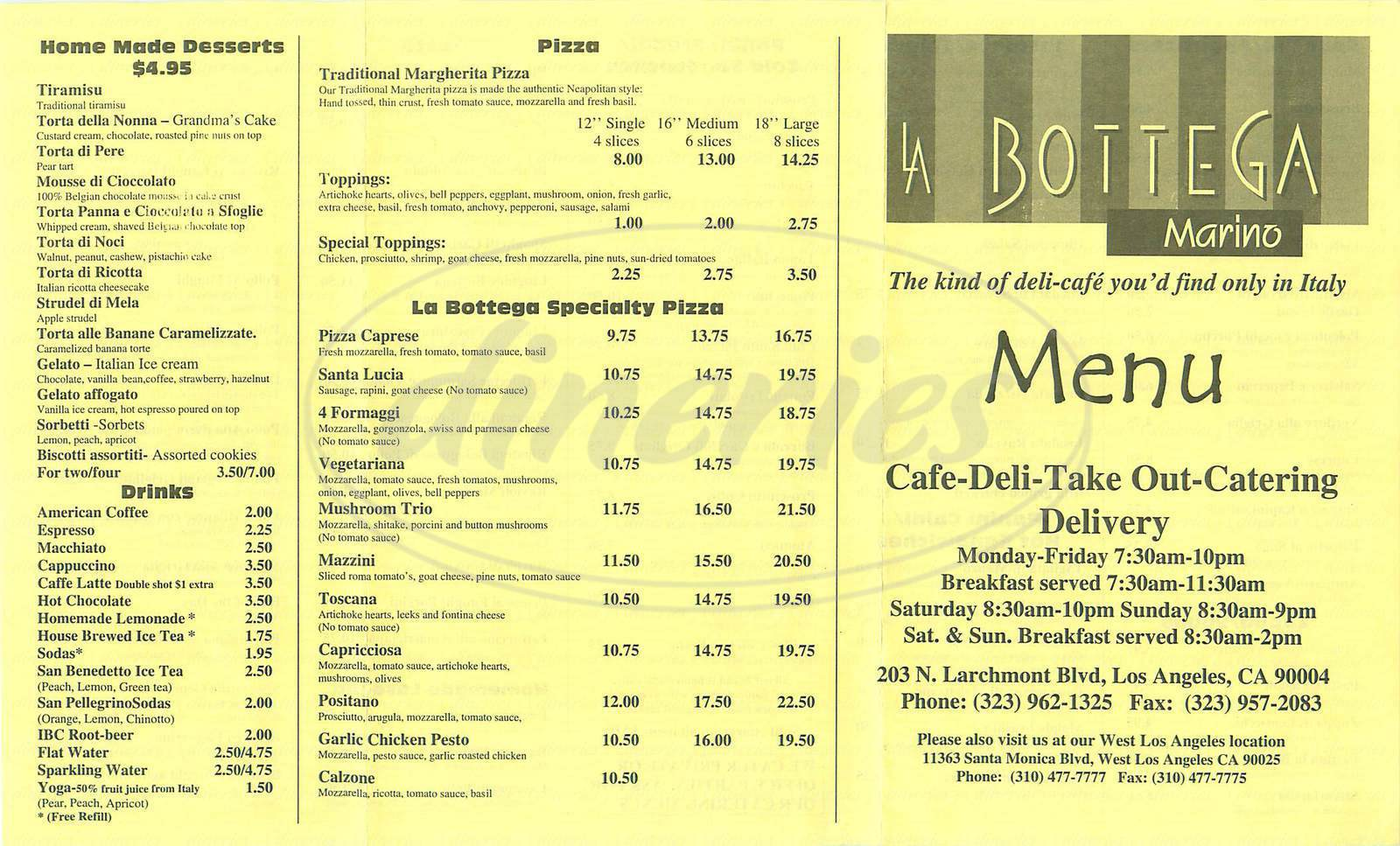 menu for La Bottega Marino