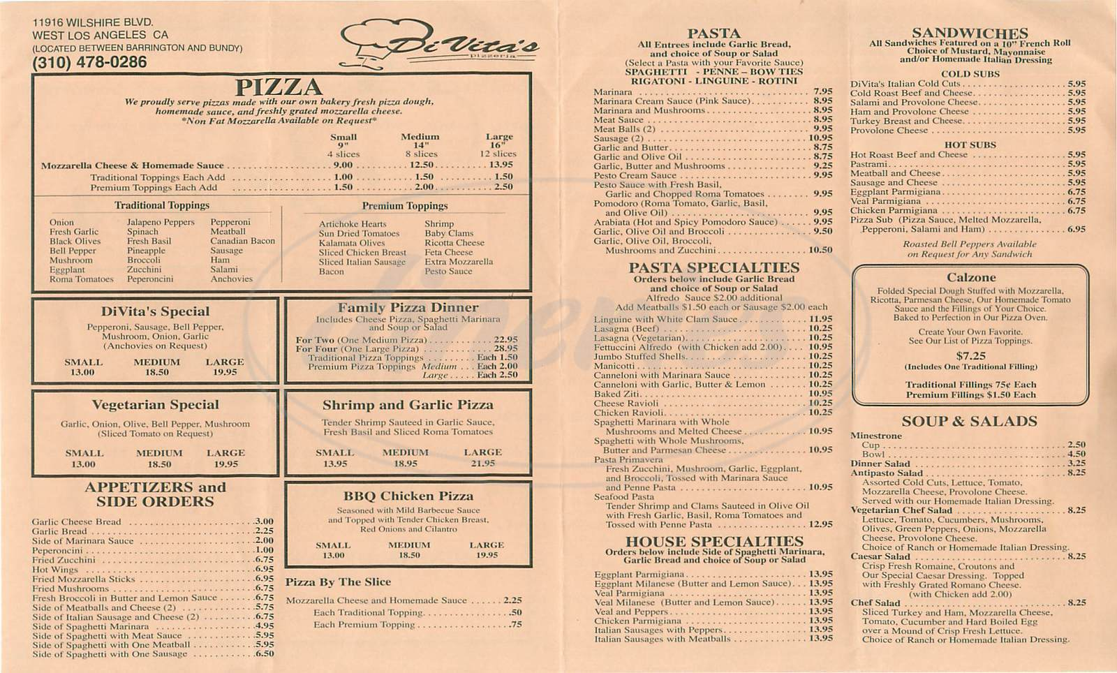 menu for Di Vita's Pizzeria