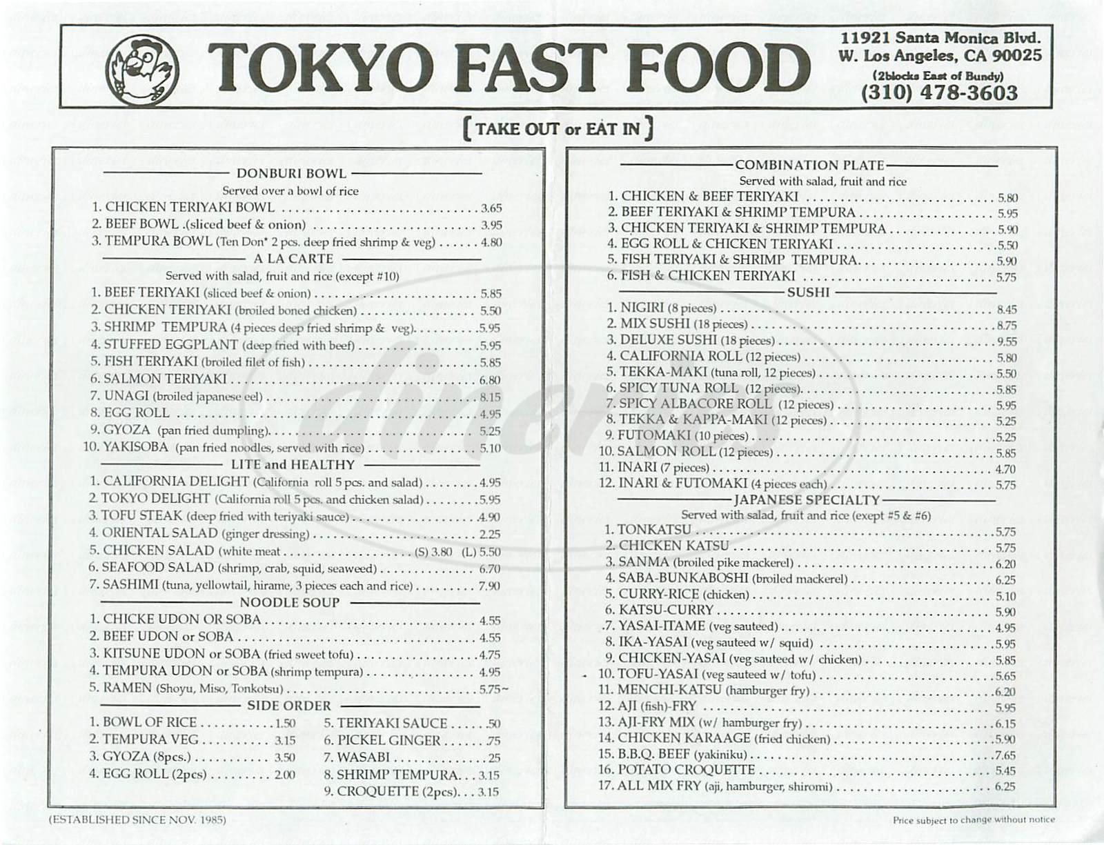 menu for Tokyo Fast Food