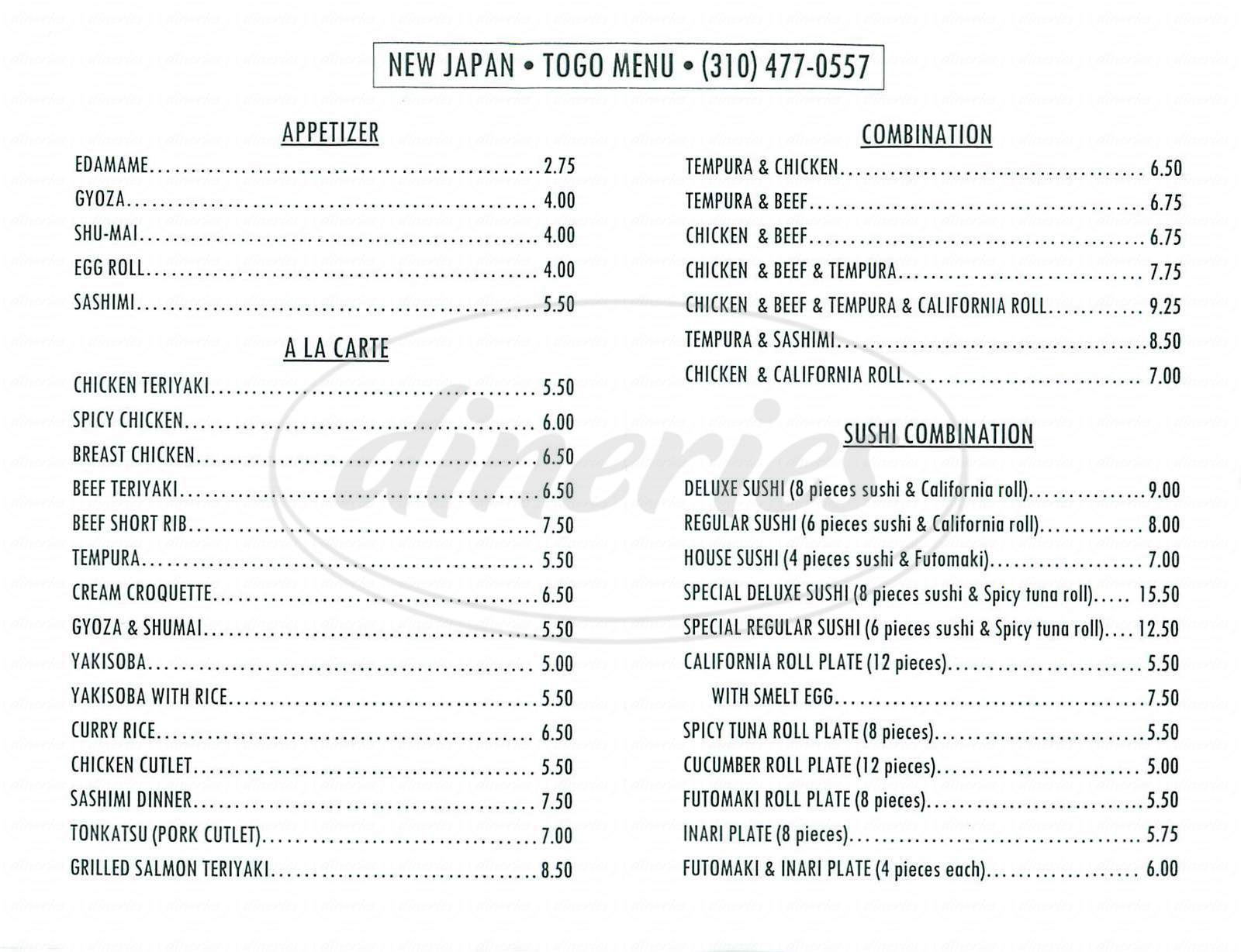 menu for New Japan