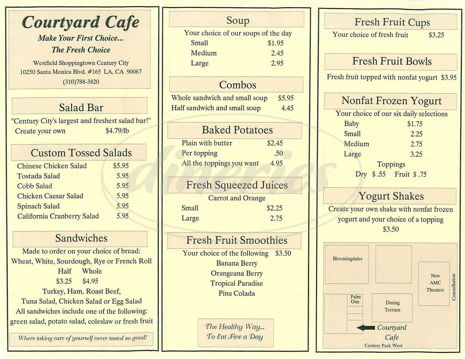 menu for Courtyard Cafe