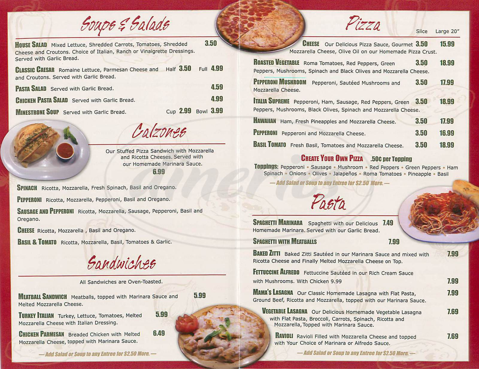 menu for Italia Express