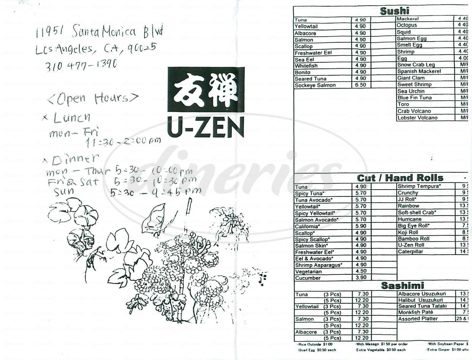 menu for U-Zen