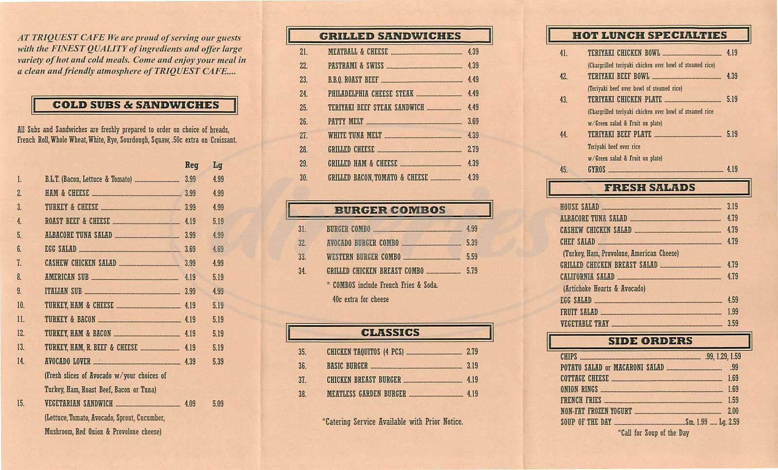 menu for Triquest Cafe
