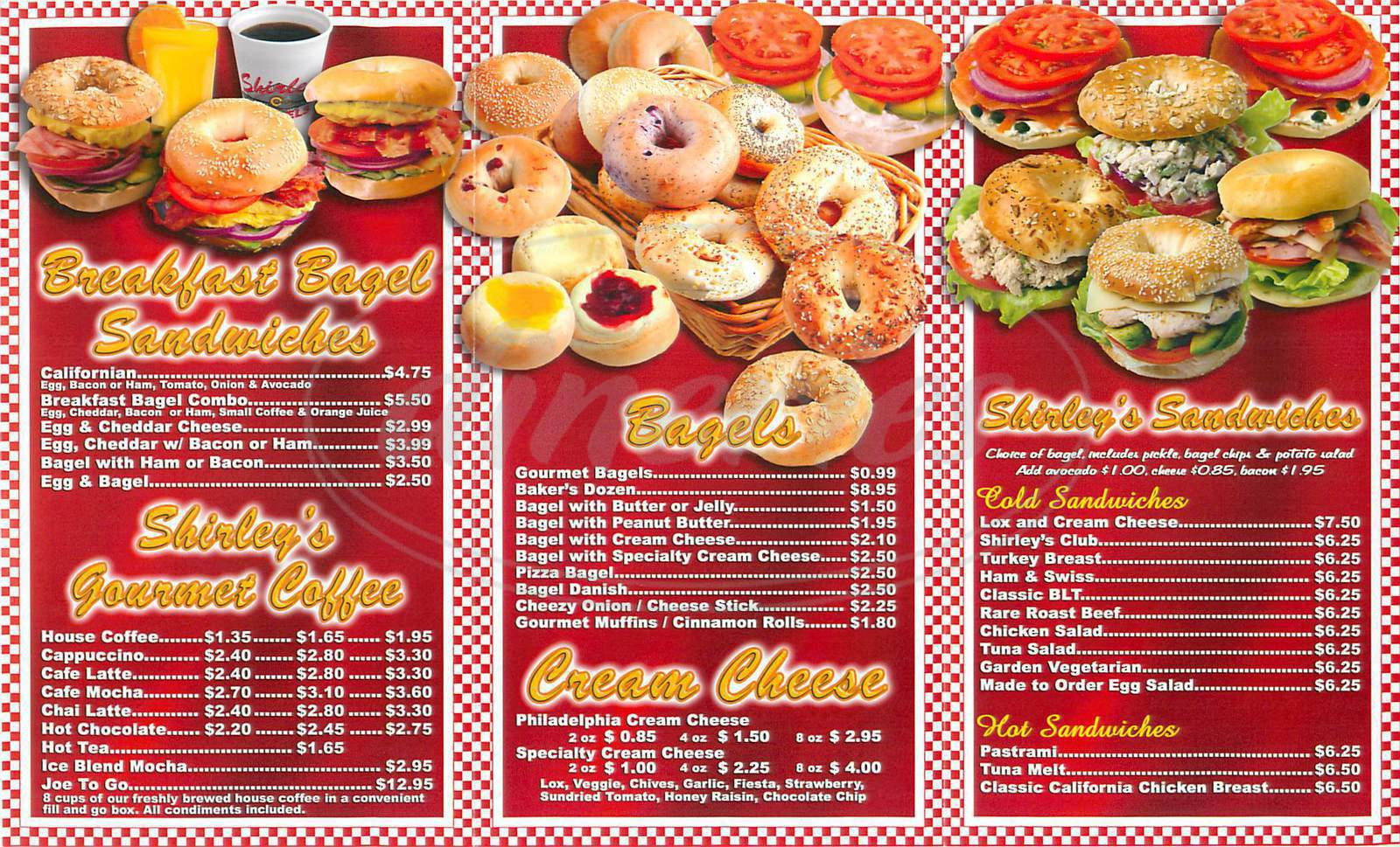 menu for Shirley's Bagels