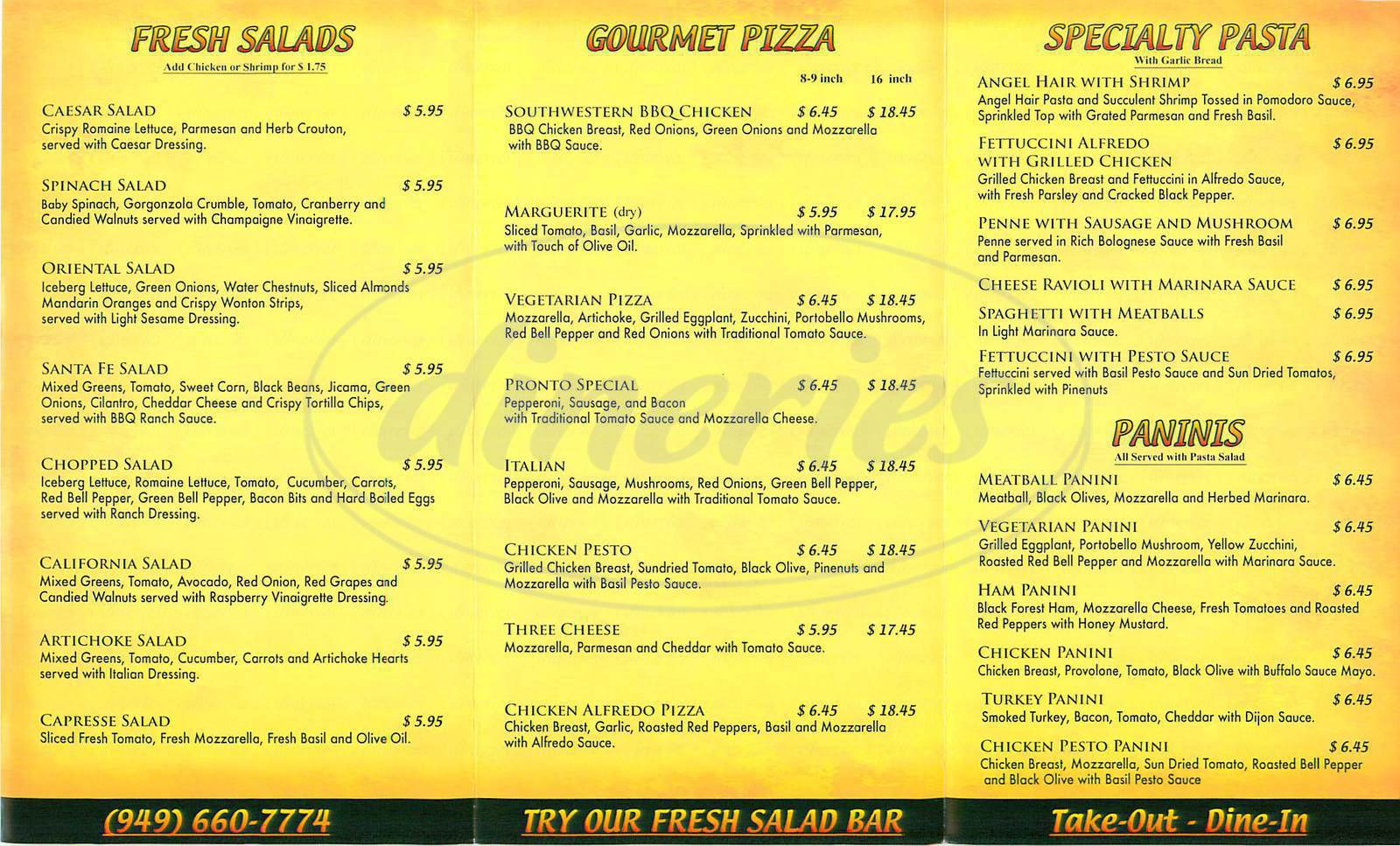 menu for Pronto Pizza & Pasta