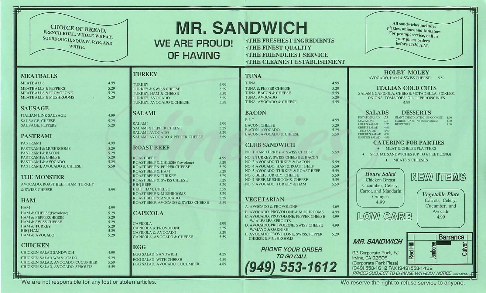 menu for Mr. Sandwich