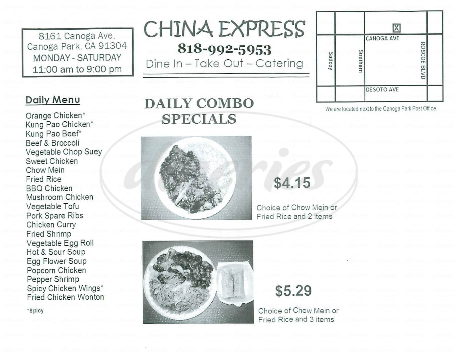 menu for China Express
