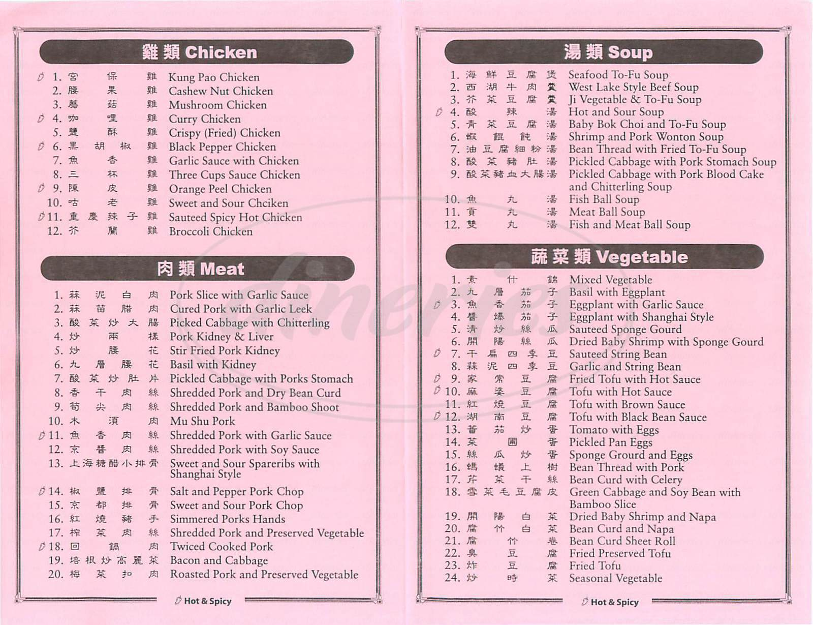 menu for Hsin Hsin Shau May Deli