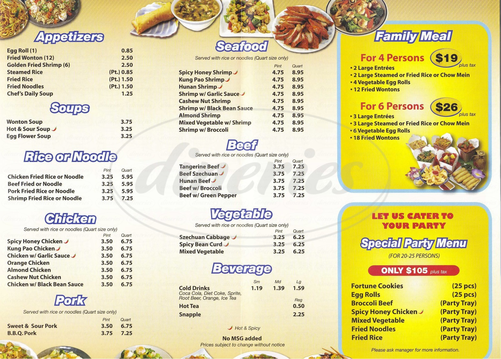 menu for Mr. Wok