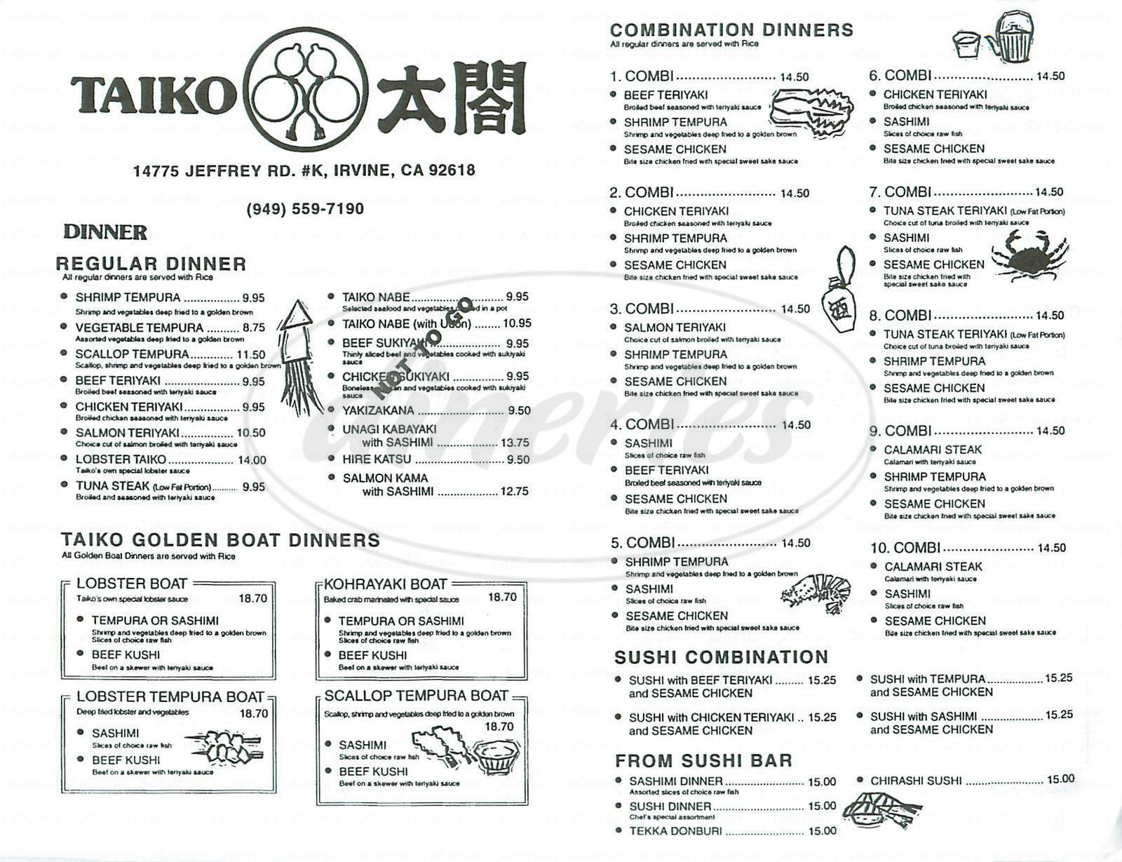 menu for Taiko