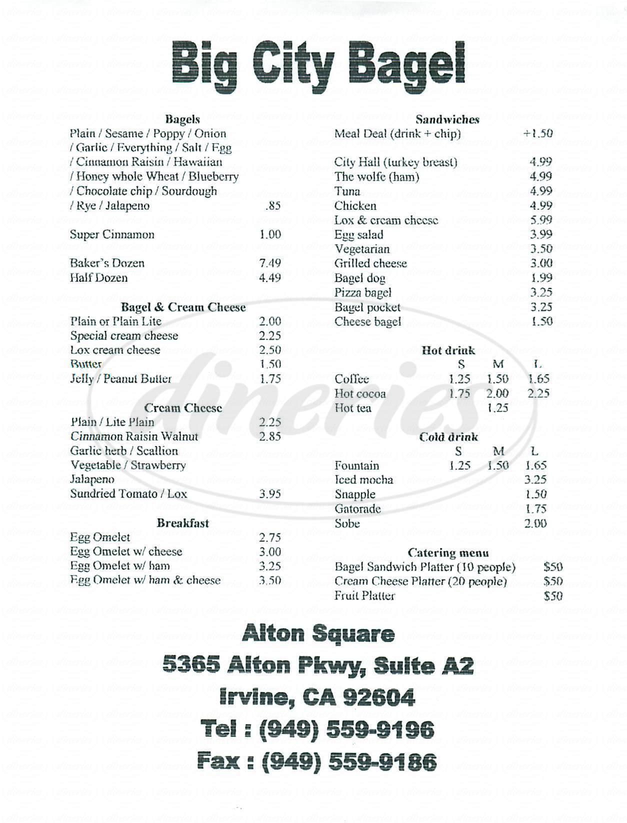 menu for Bay City Bagel