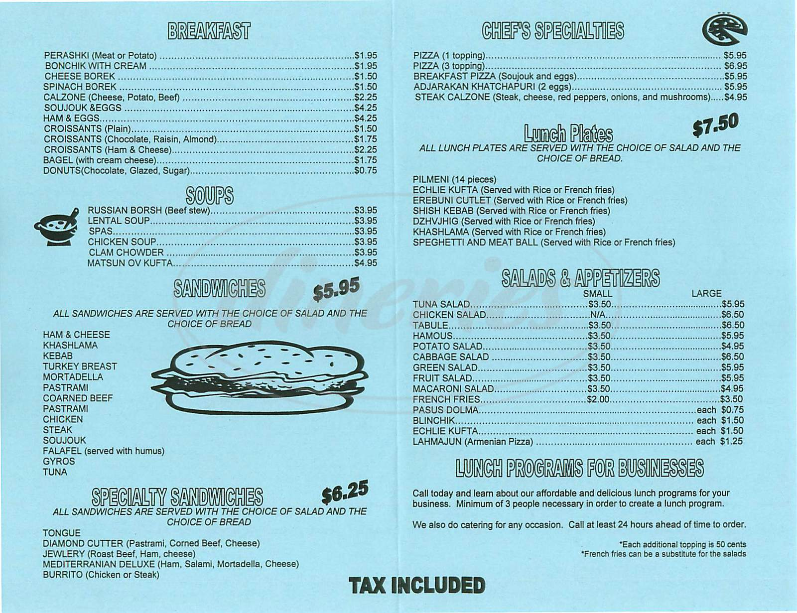 menu for Levon's Deli & Sandwiches