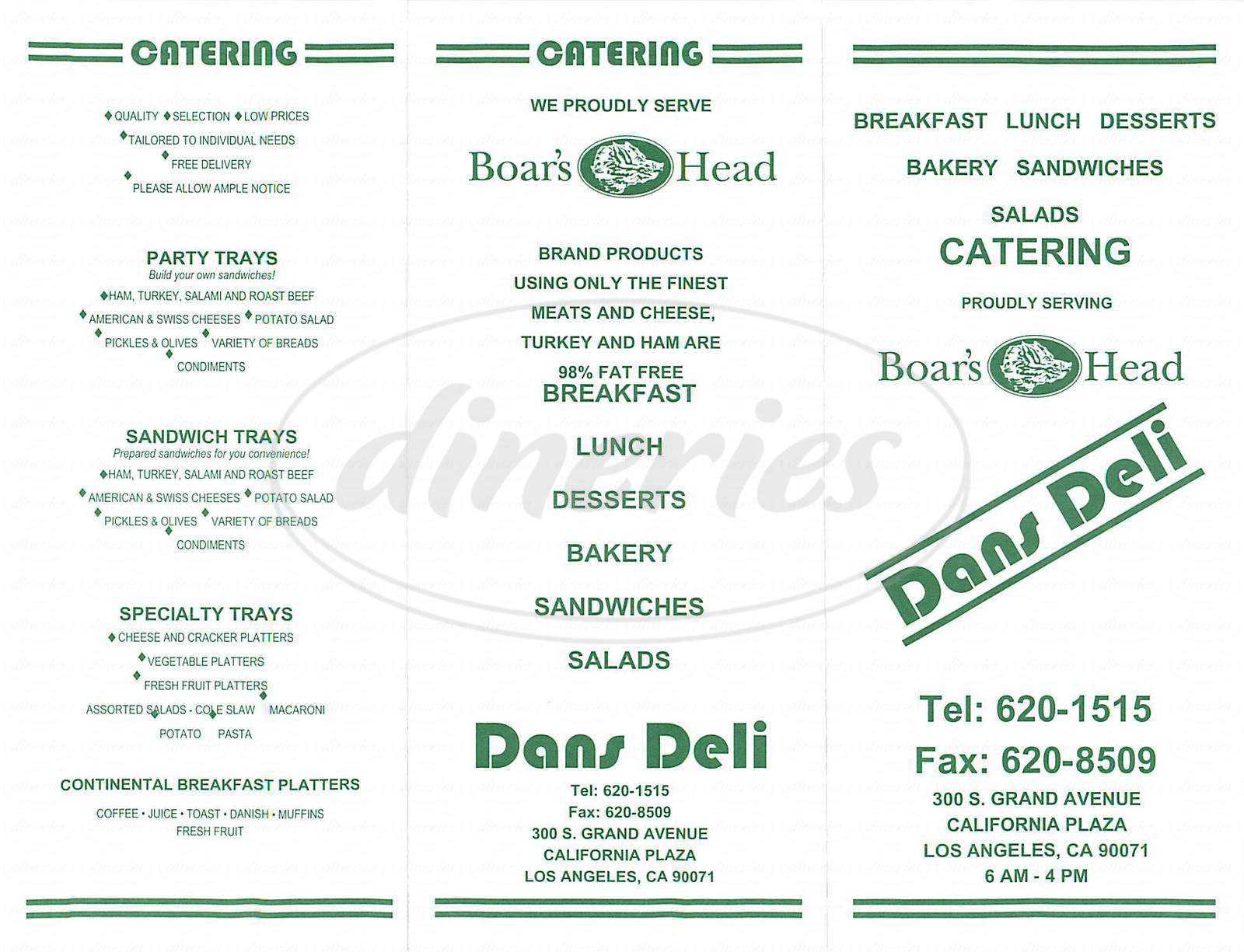 menu for Dans Deli