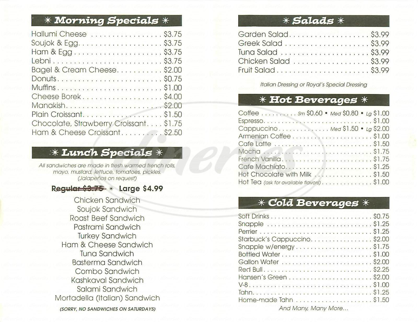 menu for Royal Deli