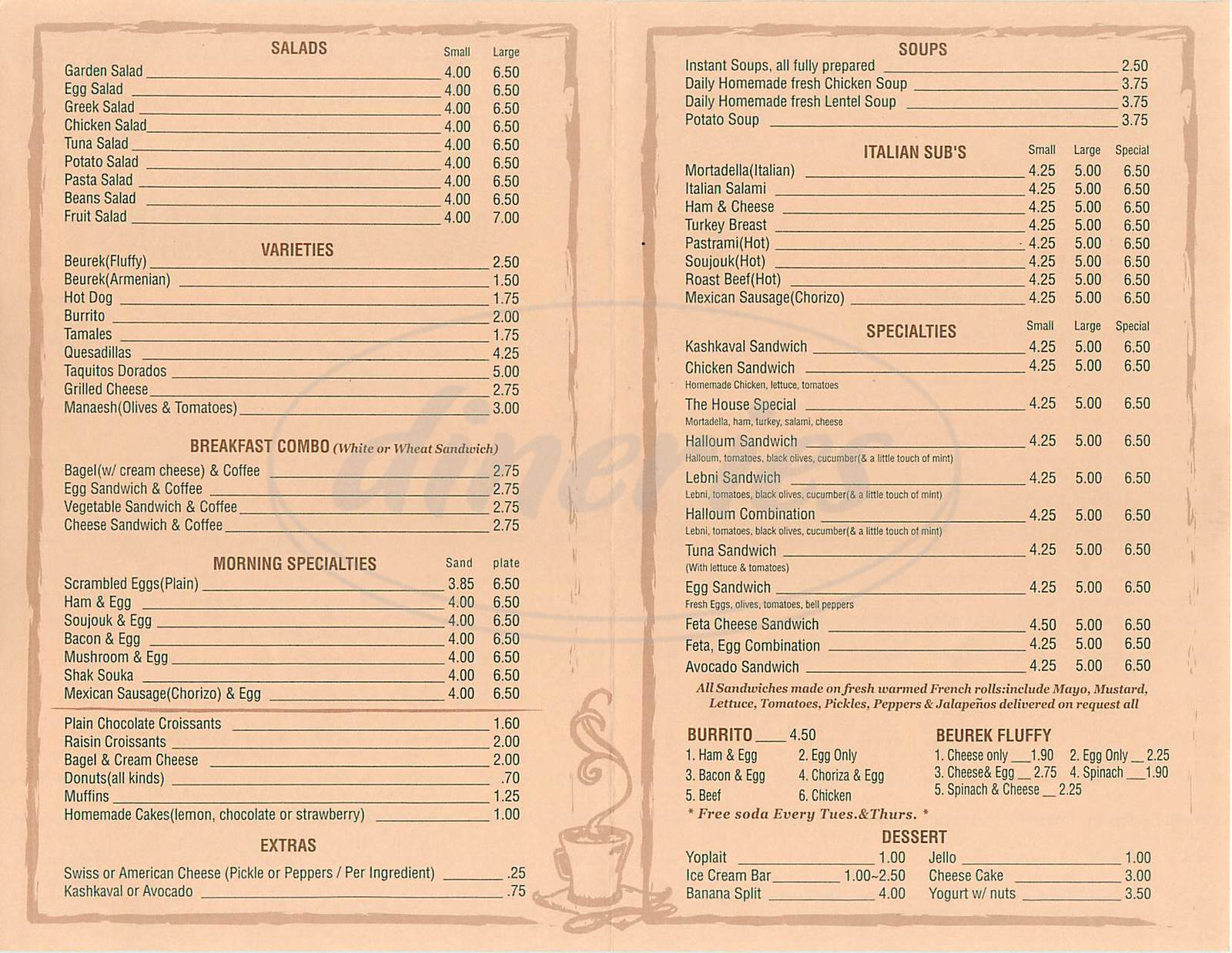 menu for Park Central Coffee