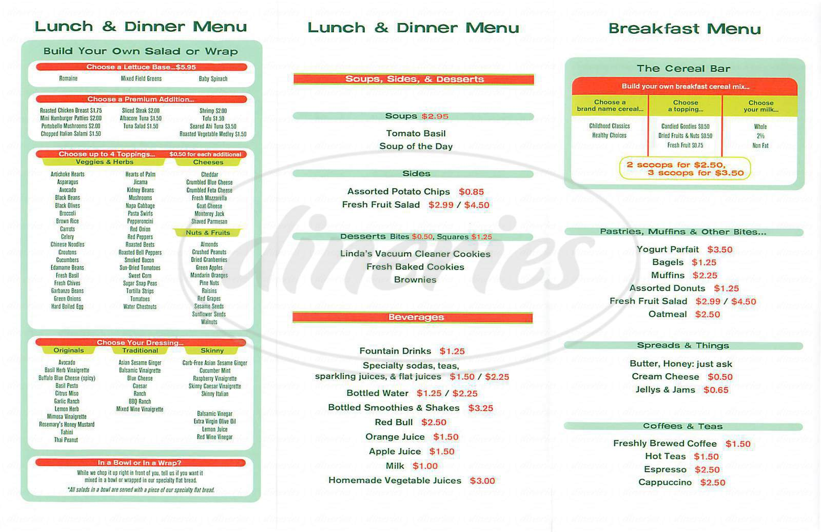 menu for Loose Leaf