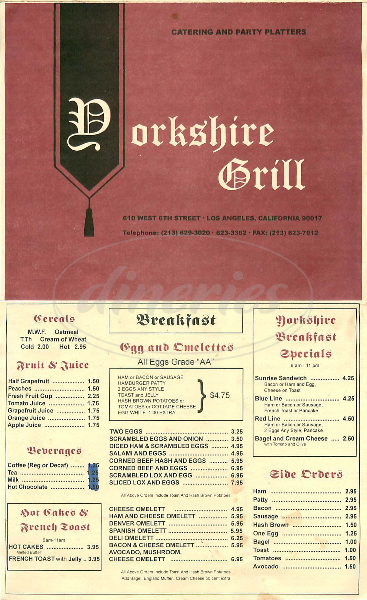 menu for Yorkshire Grill