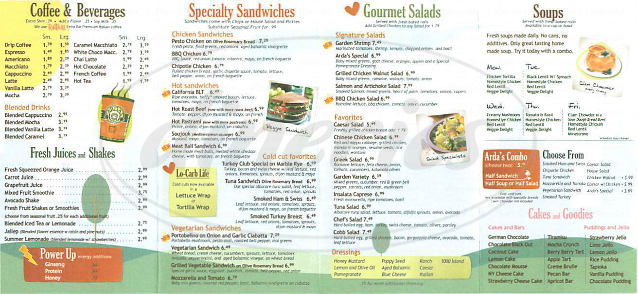 menu for Arda's Cafe