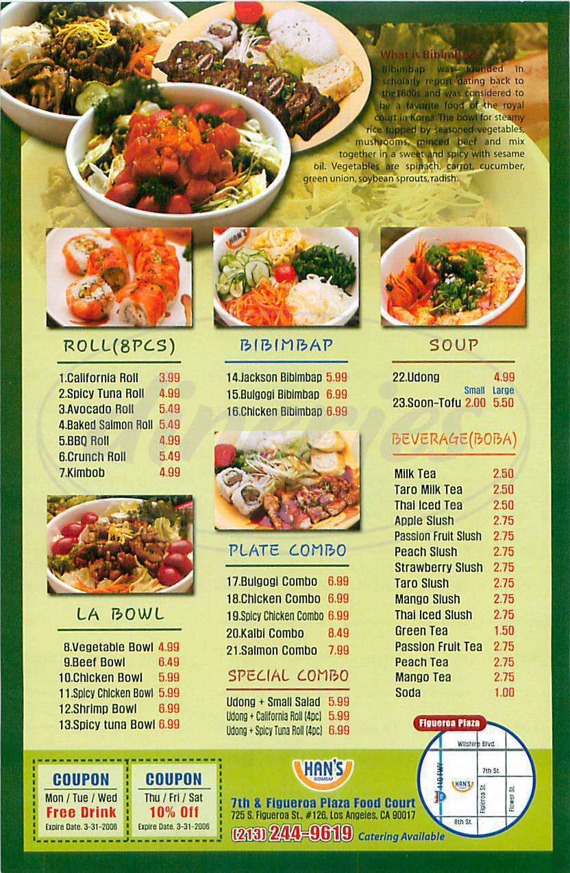 menu for Han's Bibimbap