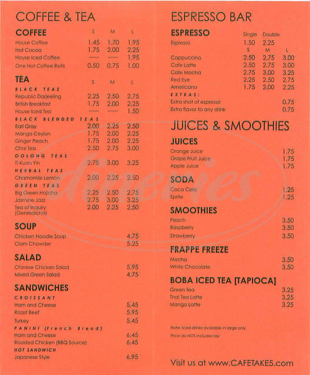 menu for Cafe Take 5