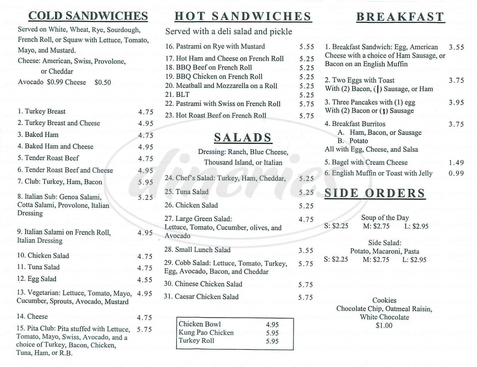 menu for Larry's Deli & Catering